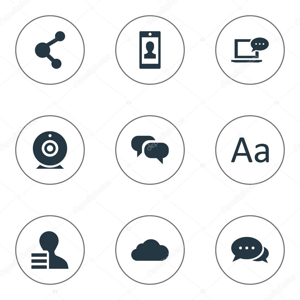 Vector Illustration Set Of Simple Blogging Icons. Elements Broadcast, Argument, Share And Other Synonyms Negotiation, Alphabet And Coming.
