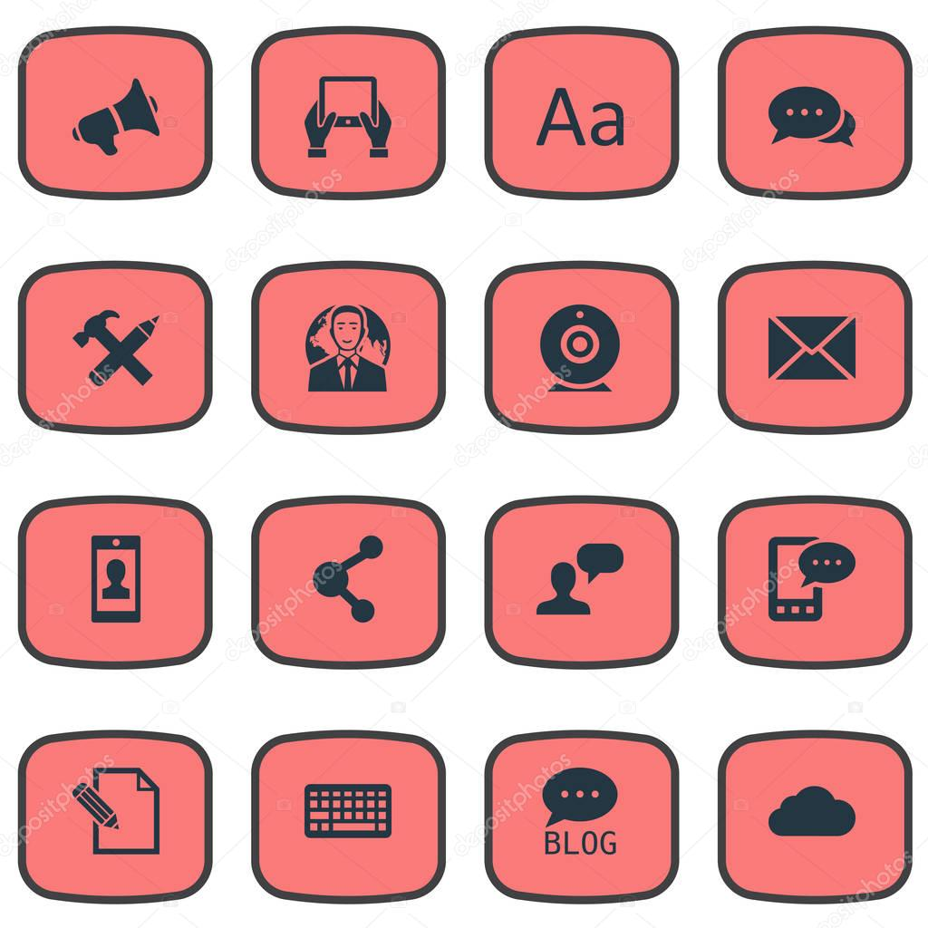 Vector Illustration Set Of Simple User Icons. Elements Post, Document, Argument And Other Synonyms Share, Laptop And Discussion.