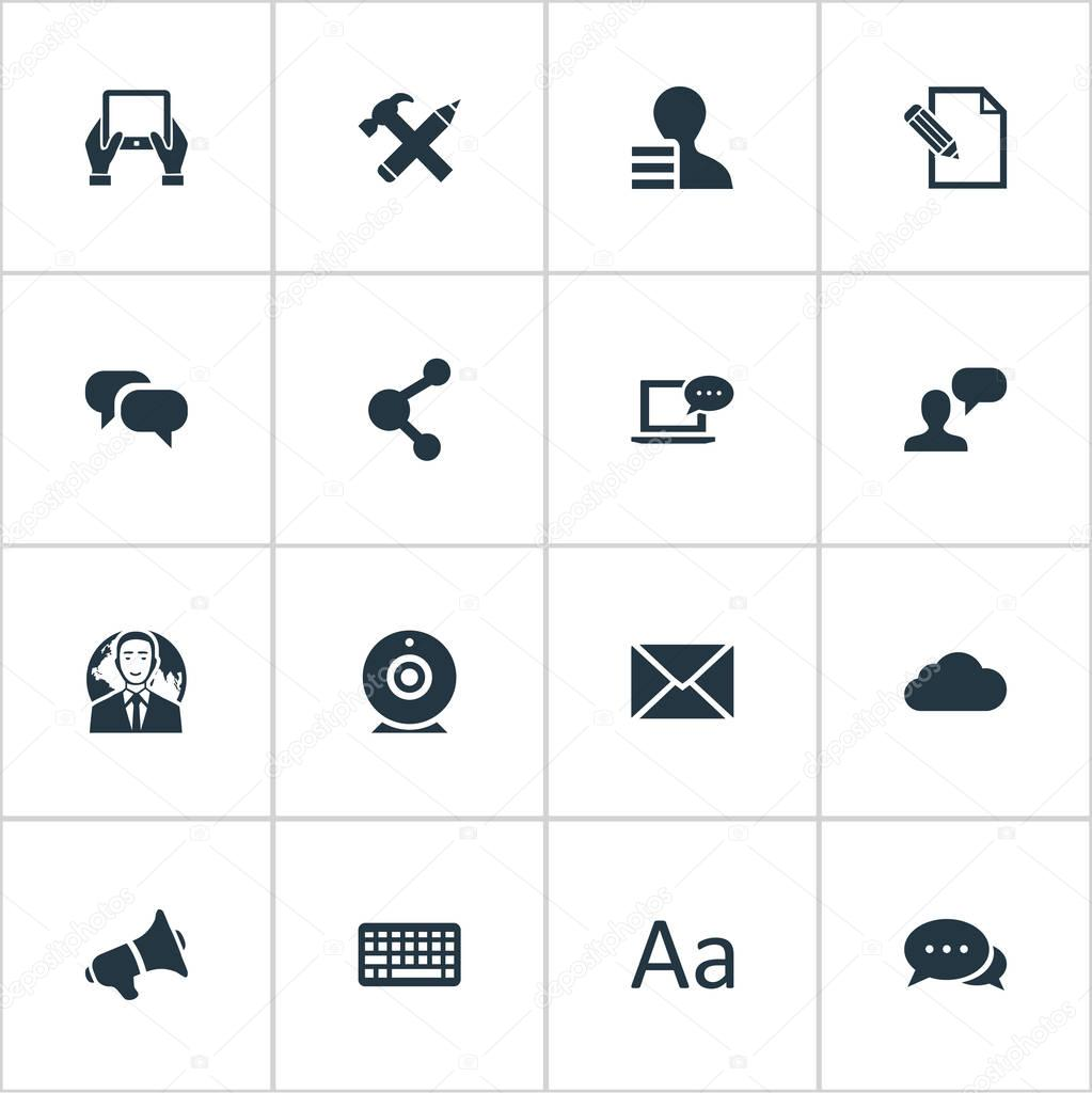Vector Illustration Set Of Simple Newspaper Icons. Elements Laptop, Overcast, Document And Other Synonyms Speaker, Broadcast And Post.
