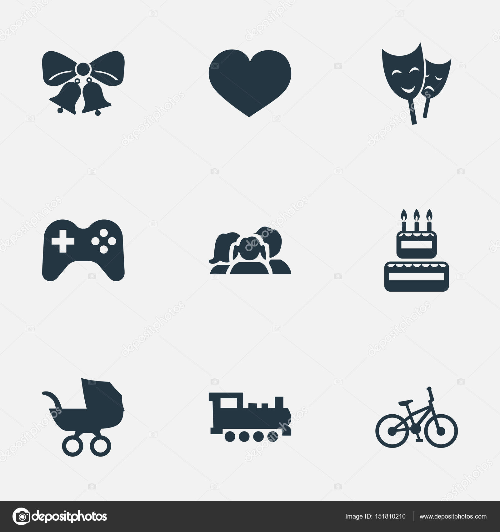 Vector Illustration Set Of Simple Celebration Icons. Elements ...