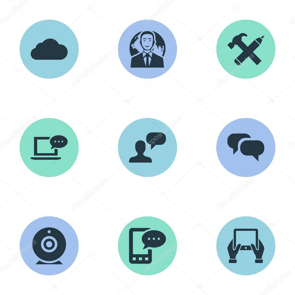Vector Illustration Set Of Simple Blogging Icons. Elements Broadcast, Gossip, International Businessman And Other Synonyms Coming, Phone And Hammer.