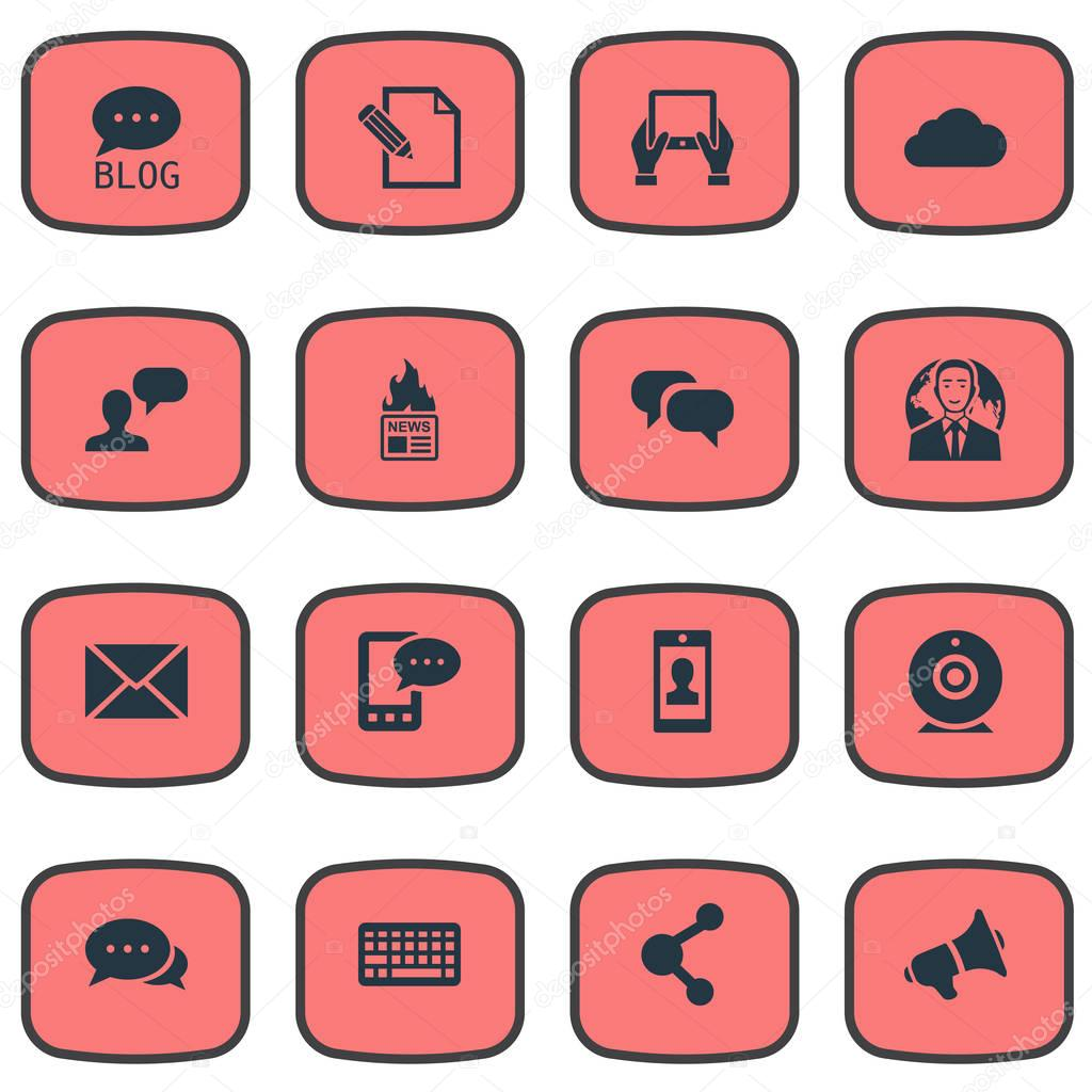 Vector Illustration Set Of Simple User Icons. Elements Profile, Post, E-Letter And Other Synonyms Post, Debate And Missive.
