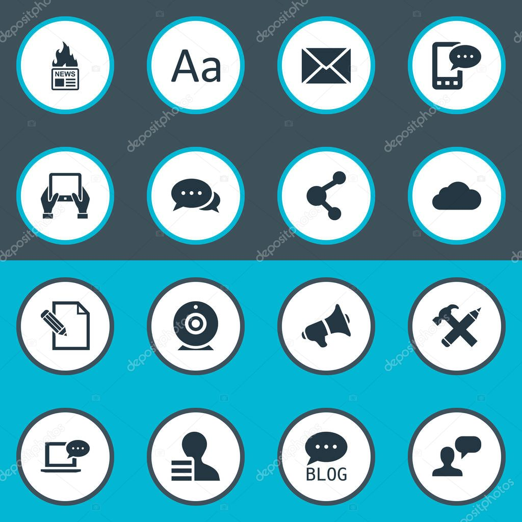 Vector Illustration Set Of Simple User Icons. Elements Notepad, Gazette, E-Letter And Other Synonyms Laptop, Earnings And Loudspeaker.