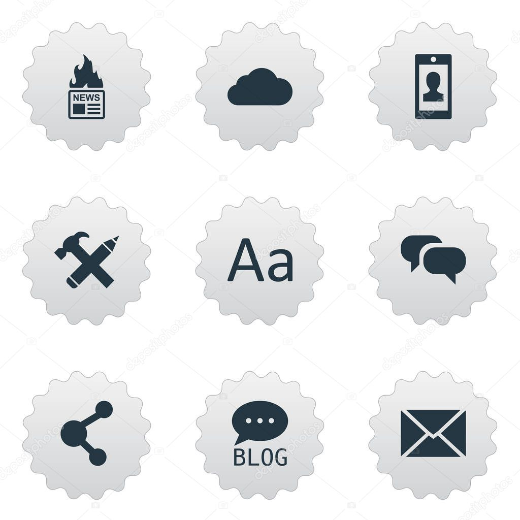 Vector Illustration Set Of Simple Newspaper Icons. Elements Gazette, Gossip, Post And Other Synonyms Sky, Missive And Speech.