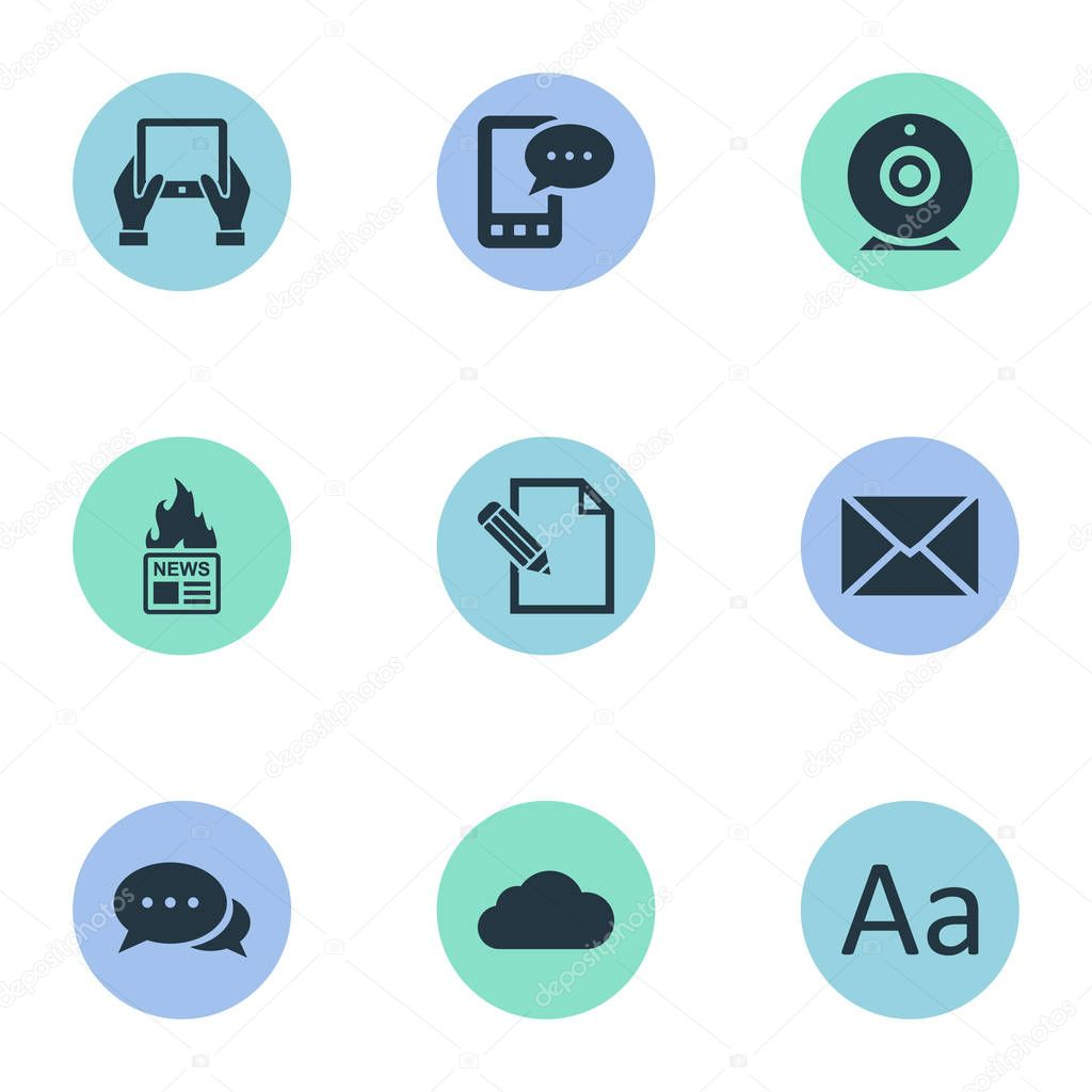 Vector Illustration Set Of Simple Newspaper Icons. Elements Notepad, Argument, Gazette And Other Synonyms Camera, Hand And Gazette.