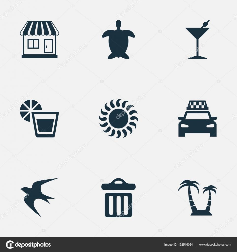 Vektor-Illustration-Set von einfach Meer Icons. Elemente-Schwalbe ...