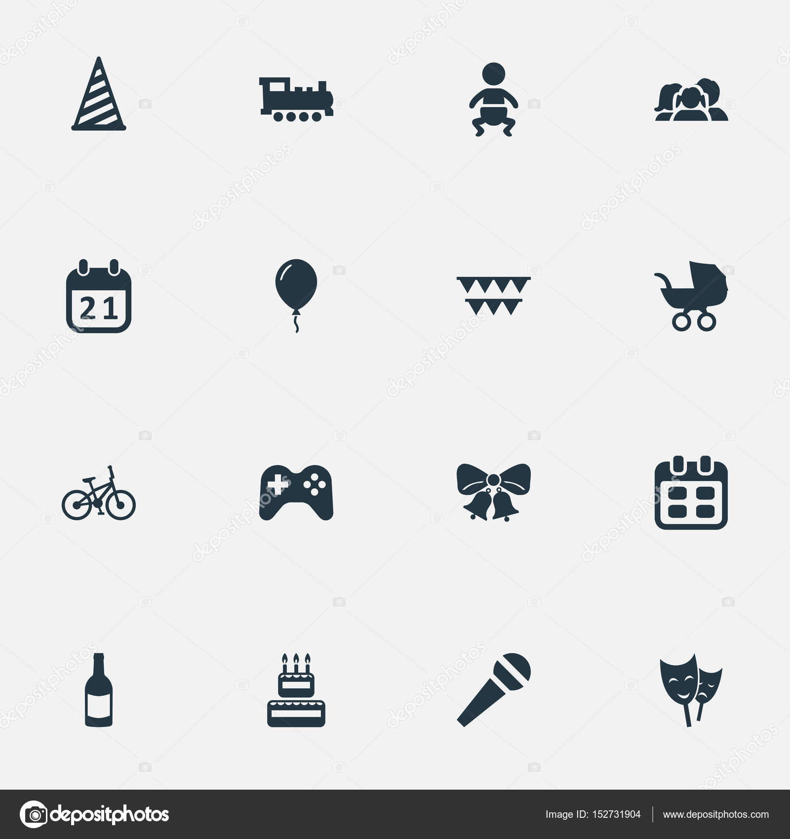 Vector illustration set of simple celebration icons elements elements special day speech days and other synonyms bicycle domestic and day vector by rashadashurov m4hsunfo