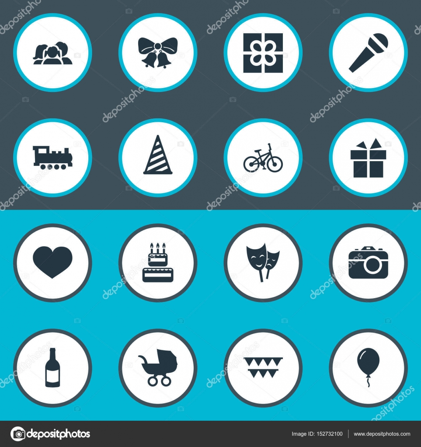 Vektor Illustration Set Von Einfachen Geburtstag Icons Elemente