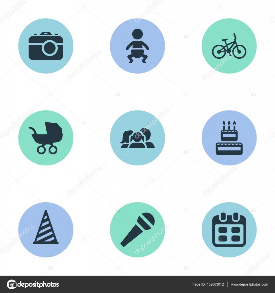 Illustrazione Vettoriale Di Compleanno Semplici Icone Elementi