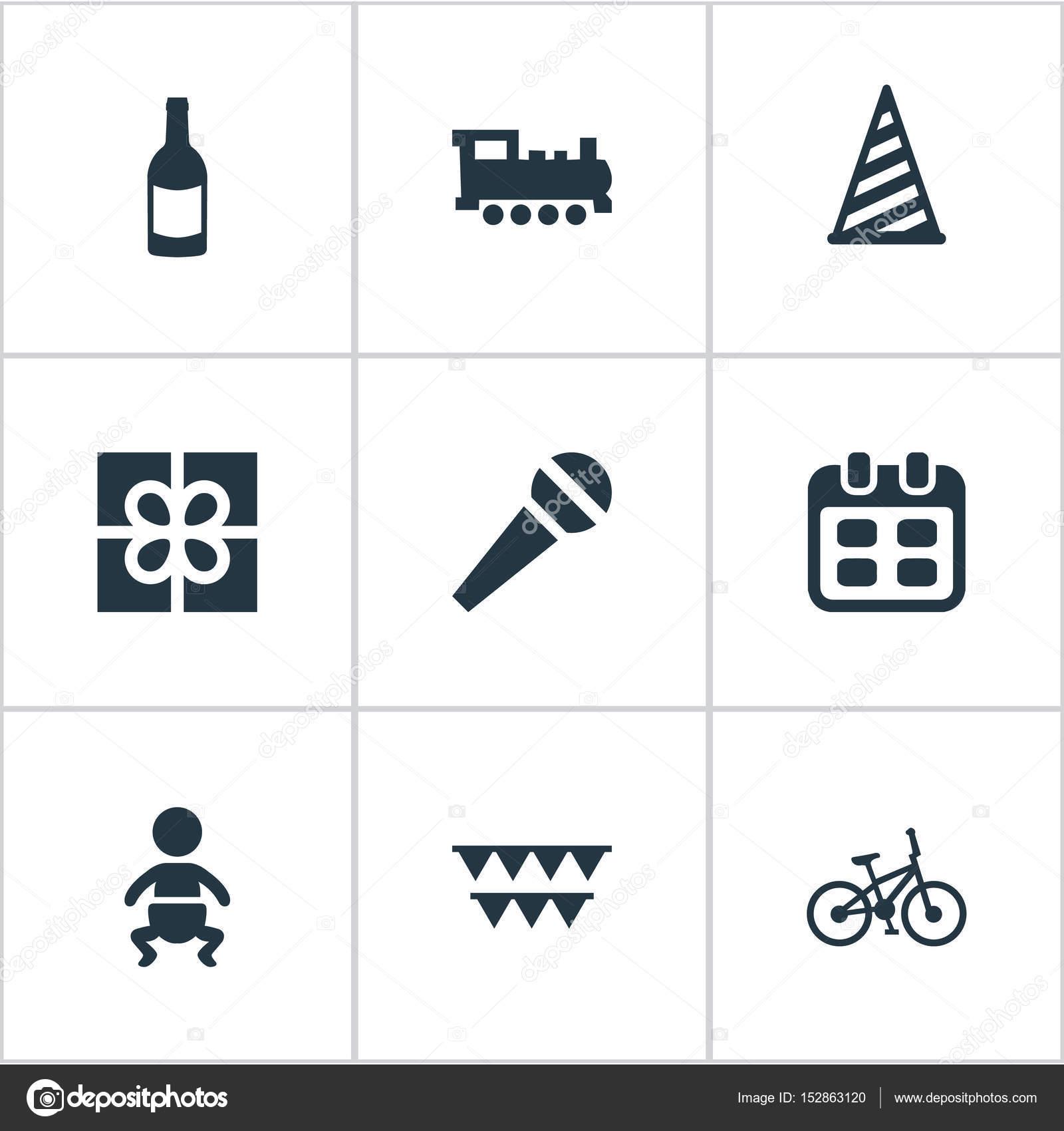 簡単な誕生日アイコンのベクター イラスト セット日付要素の自転車