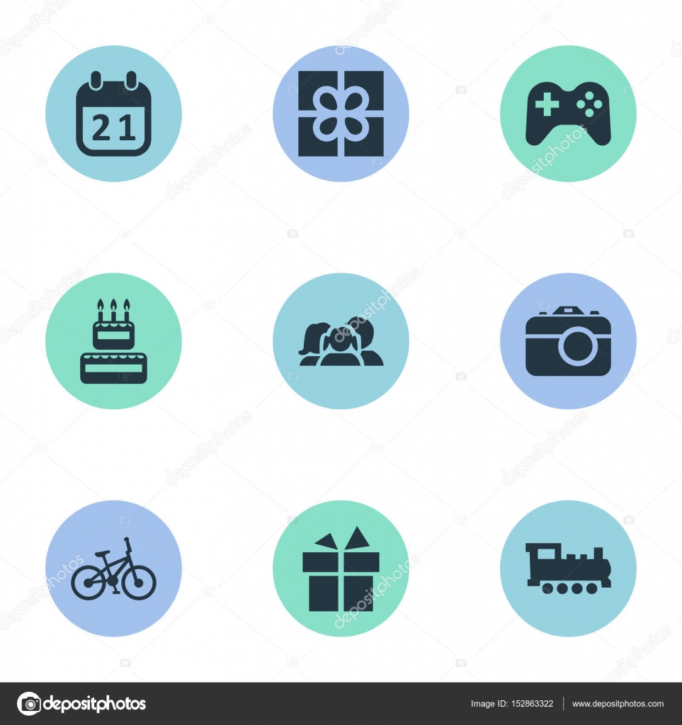 Illustrazione Vettoriale Di Compleanno Semplici Icone Elementi Di