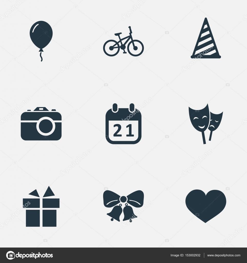 簡単な誕生日アイコンのベクター イラスト セット他の同義語の贈り物