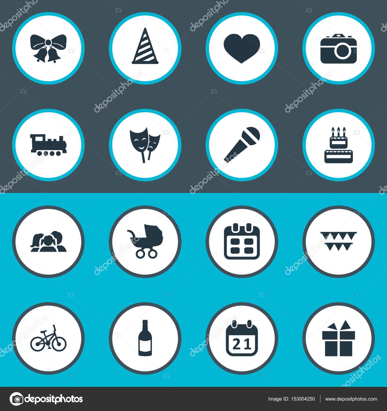 Illustrazione Vettoriale Di Compleanno Semplici Icone Cap Di
