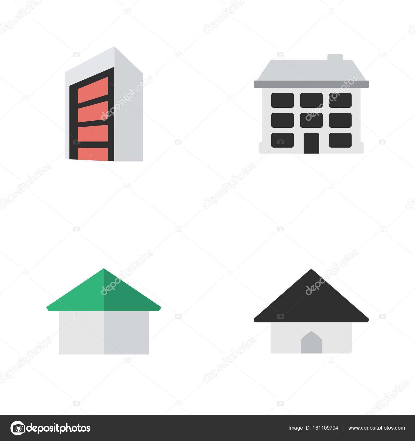 シンプルな本物のアイコンのベクトル イラスト セット要素建設建築