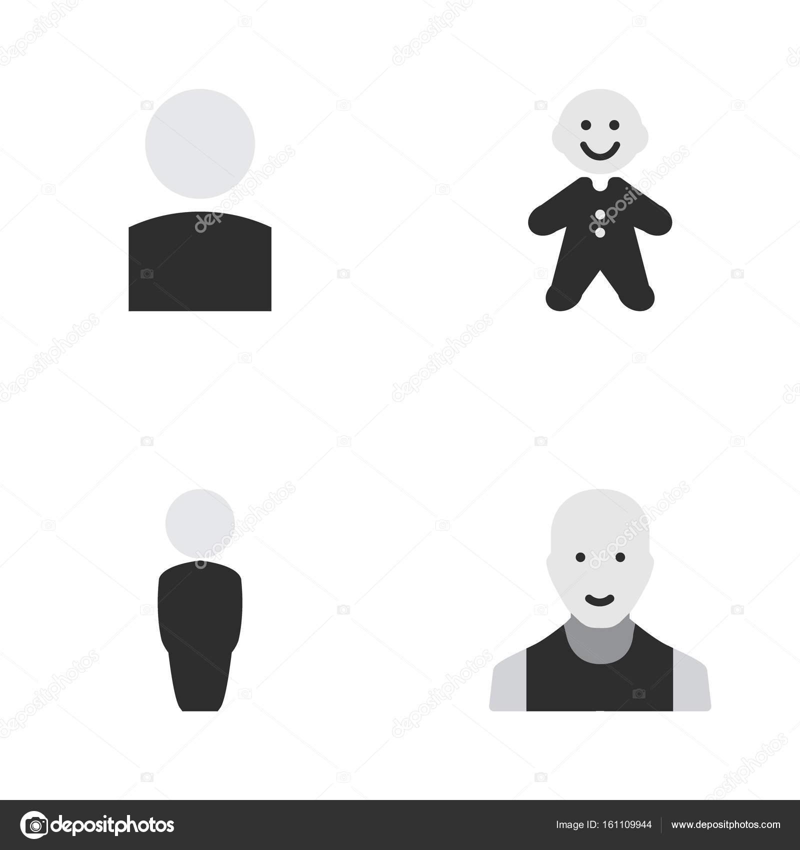 Vector Illustration Einfaches Profil Icons Set Elemente Mann