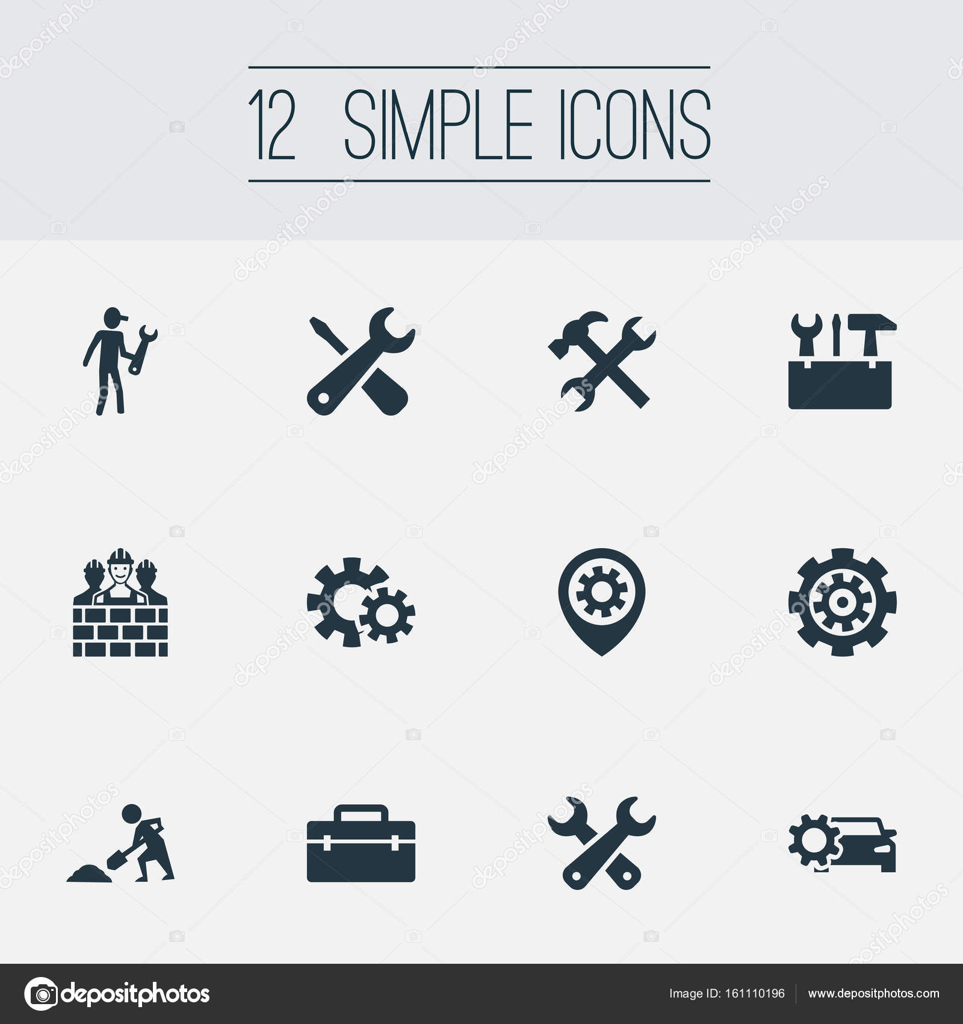 Circuito Neumatico Simple : Vector ilustración conjunto de iconos de reparación simple bolso
