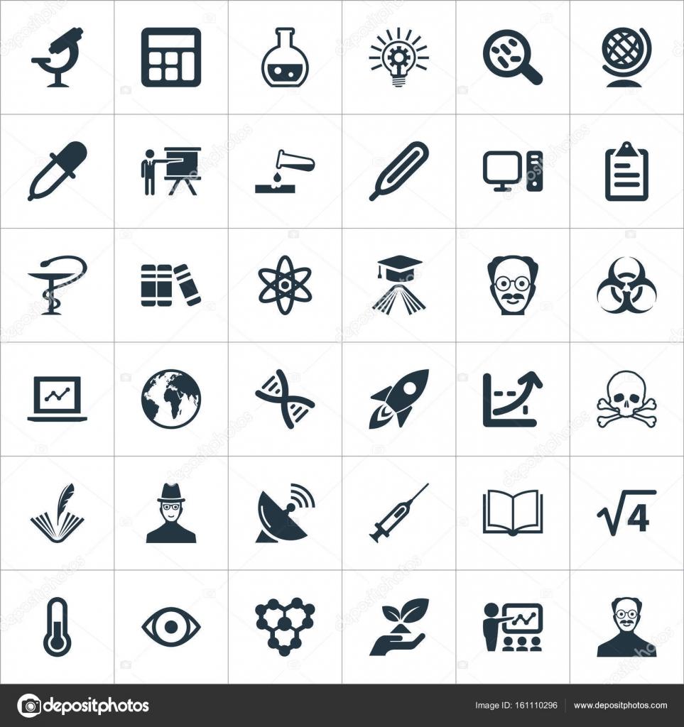 Vektor-Illustration-Set einfache Studie Symbole. Elemente wissen ...