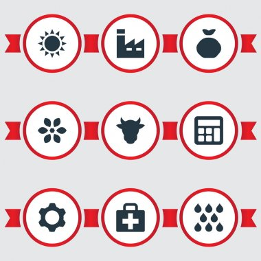 Vector Illustration Set Of Simple Agriculture Icons. Elements Watering, Manufacture, Livestock And Other Synonyms Sunshine, Cow And Storage.