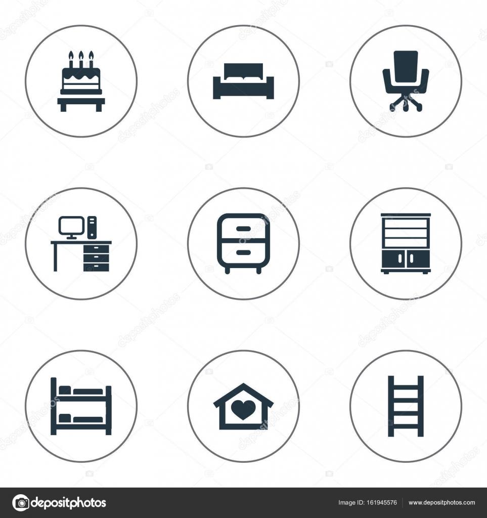 Vektor Illustration Set Von Einfacher Ausstattung Icons Elemente