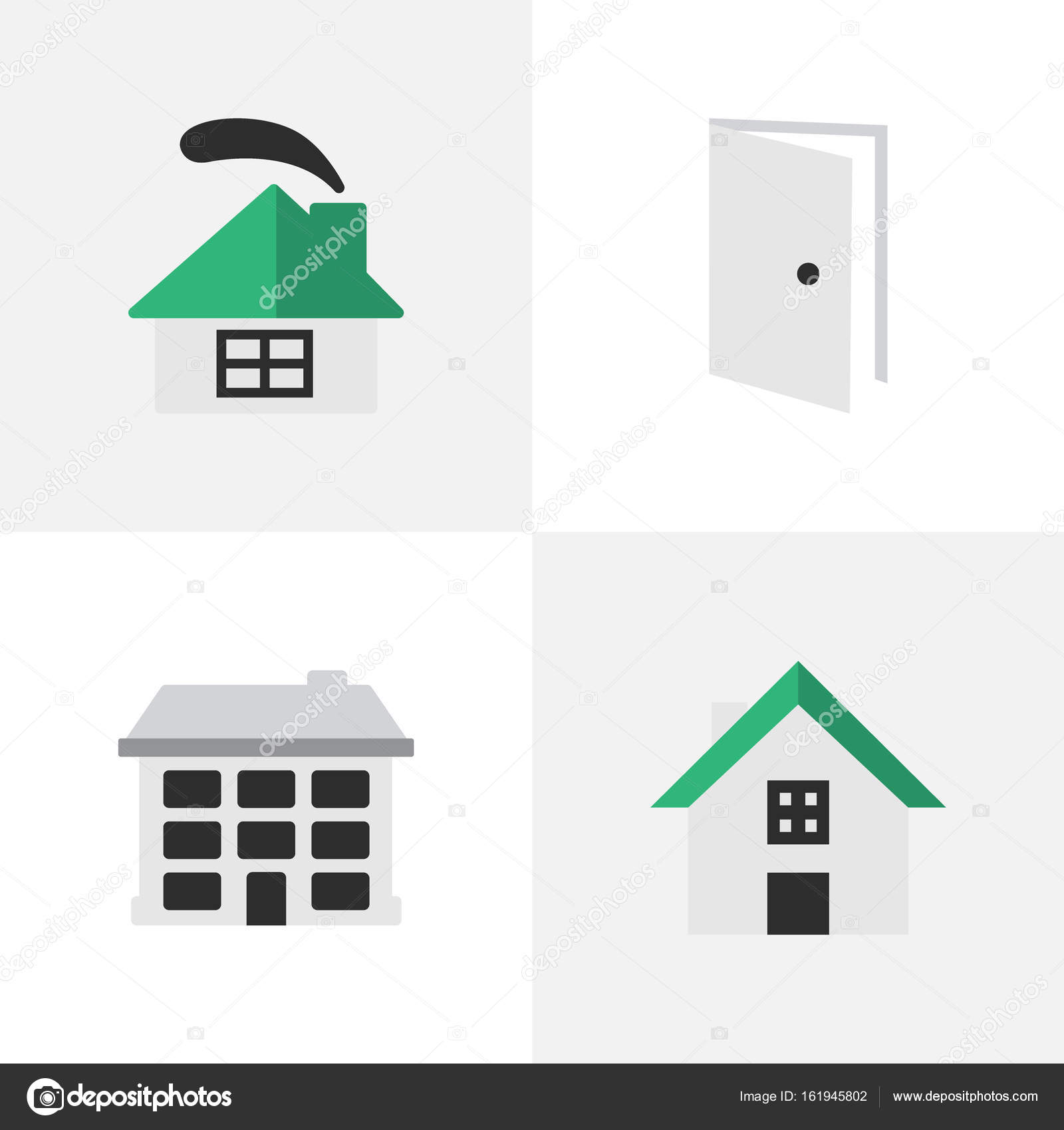 Elements Structure Dwelling Home And Other Synonyms House Entry And Door. Vector Illustration Set Of Simple Real Icons. \u2014 Vector by rashad_ashurov  sc 1 st  Depositphotos & Vector Illustration Set Of Simple Real Icons. Elements Structure ...
