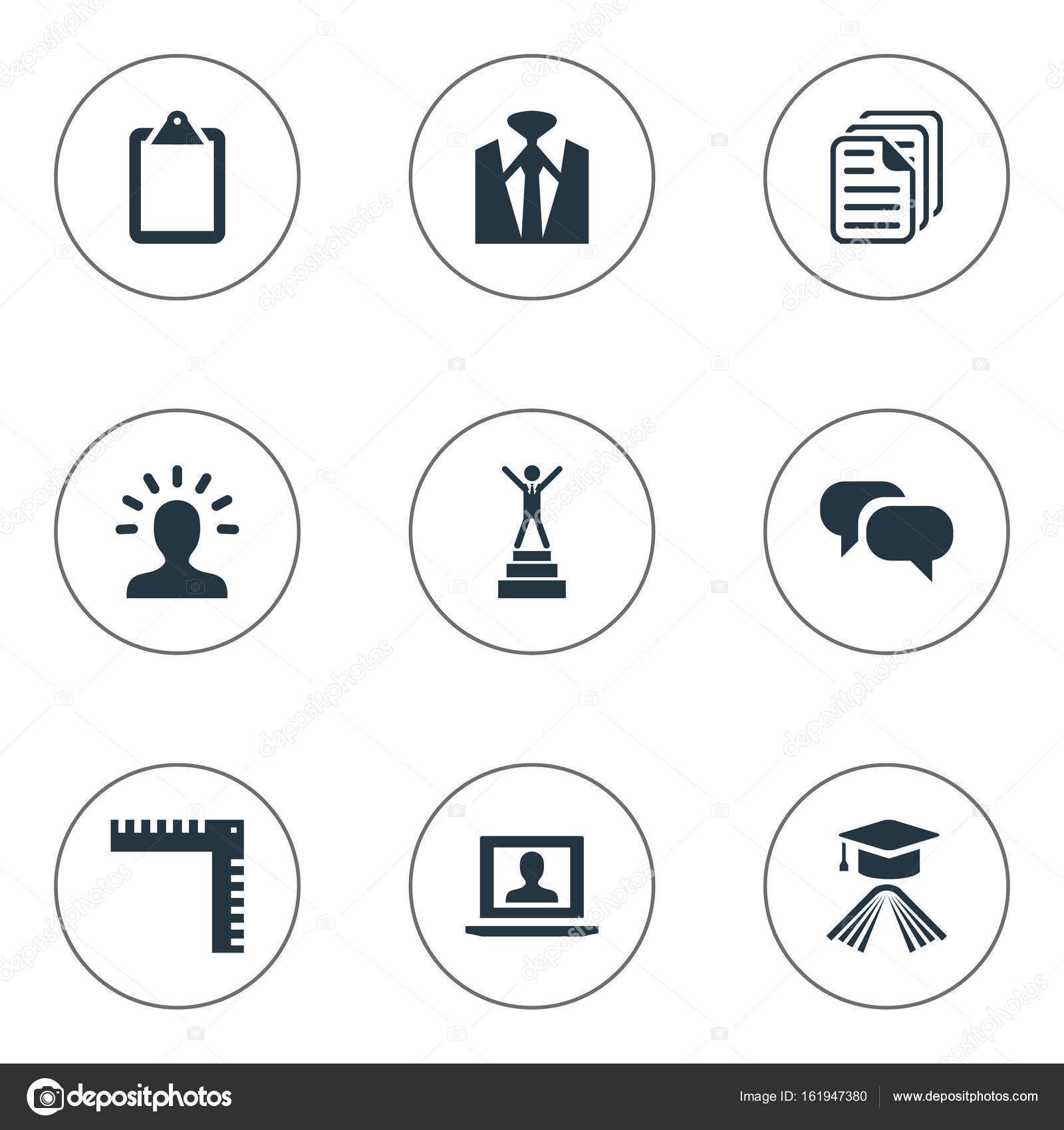 Vector illustration set of simple conference icons elements elements profile master degree discussion and other synonyms message measurement and documents vector illustration set of simple conference icons biocorpaavc
