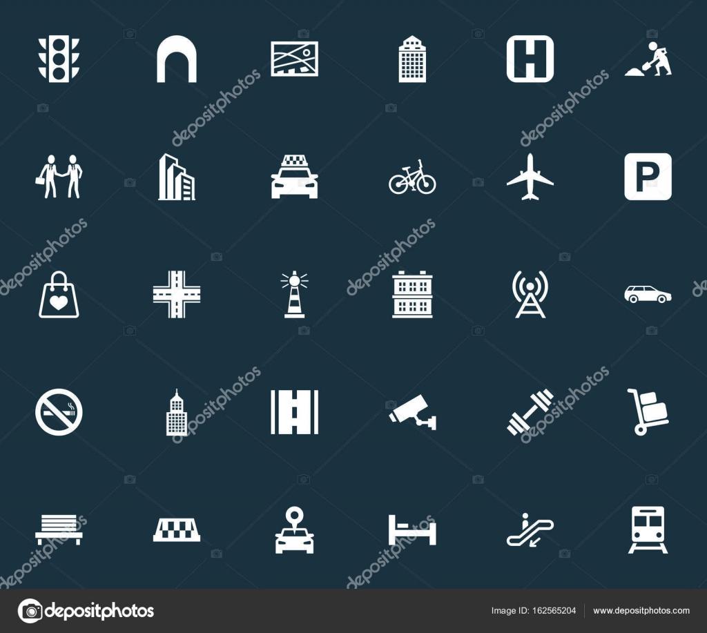 Vector ilustración conjunto de iconos Simple infraestructura. Forma ...