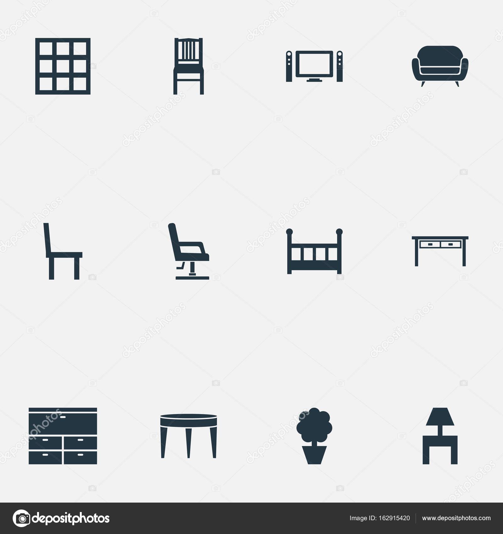 Conjunto Iconos Sencillo Ilustración De Vector Mobiliario QdEroeCxBW