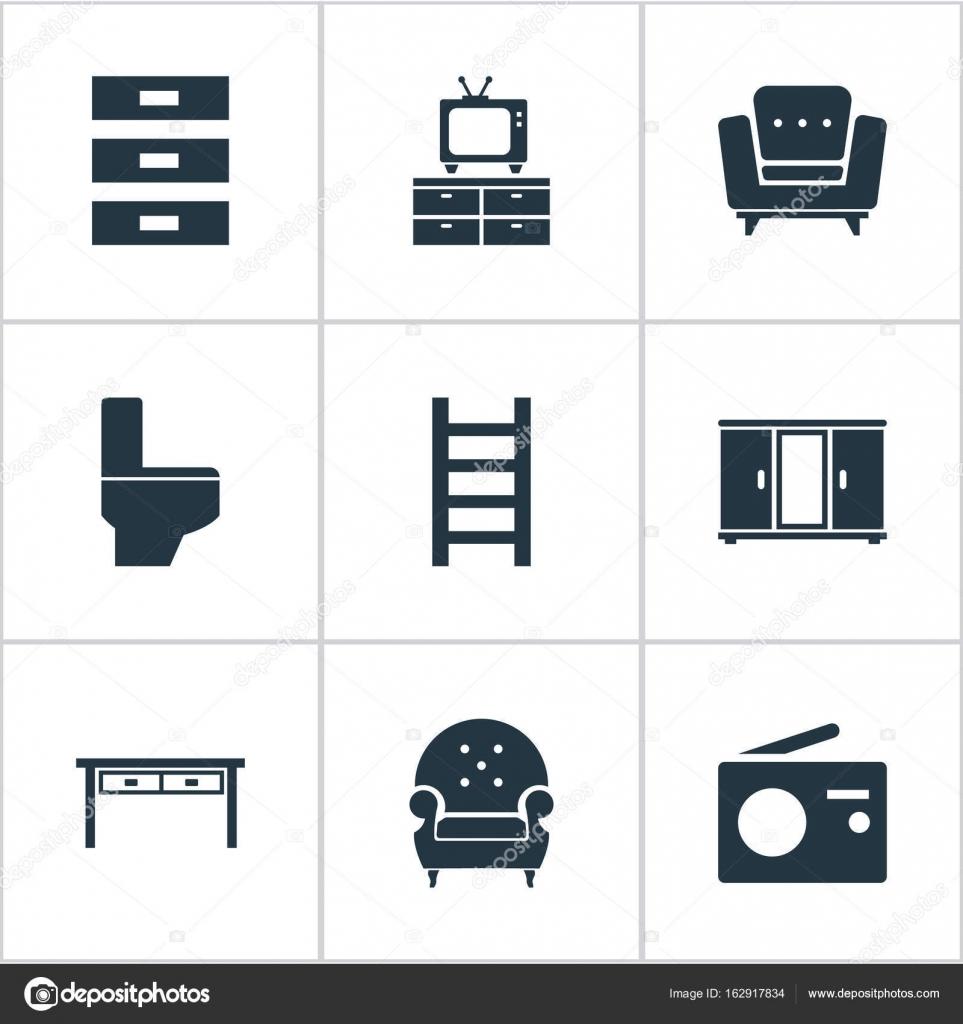 Illustrazione vettoriale di mobili semplici icone. Elementi di ...
