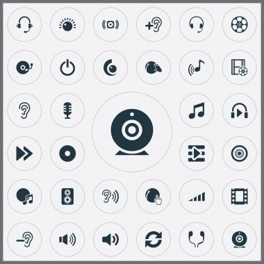 Vector Illustration Set Of Simple Play Icons. Elements Music, Partymaker, New Album And Other Synonyms Headset, Scale And Earphones.