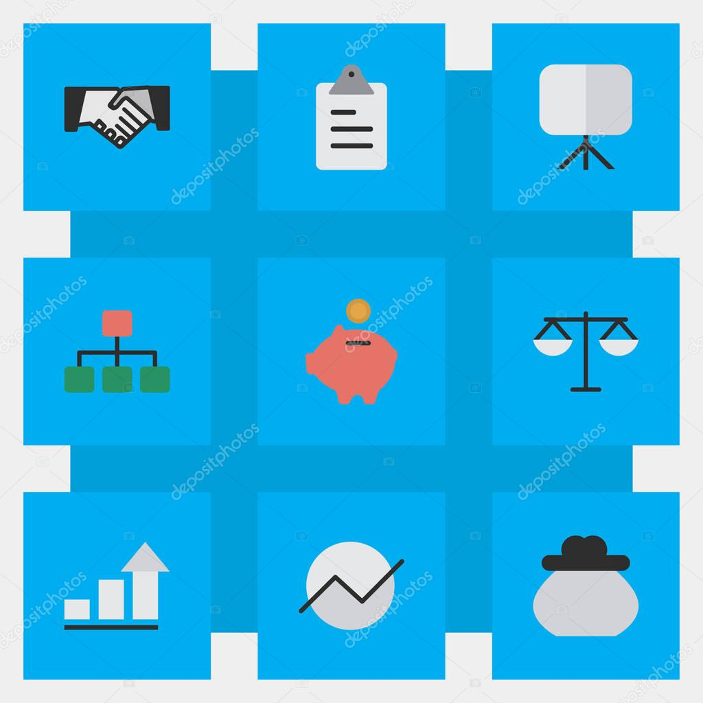 Vector Illustration Set Of Simple Job Icons. Elements Agreement, Diagram, Growing And Other Synonyms Board, Agreement And Growing.