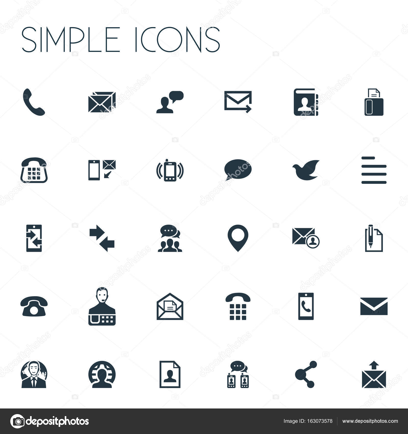 vector illustration set of simple contact icons elements pin