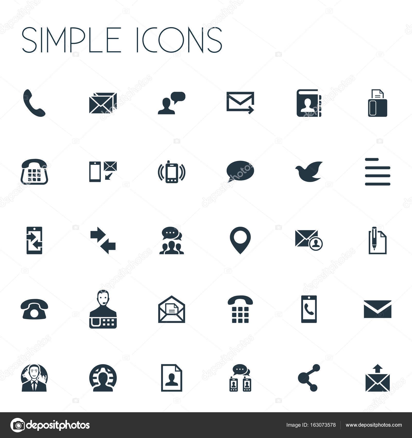 vector illustratie set van eenvoudige contact iconen