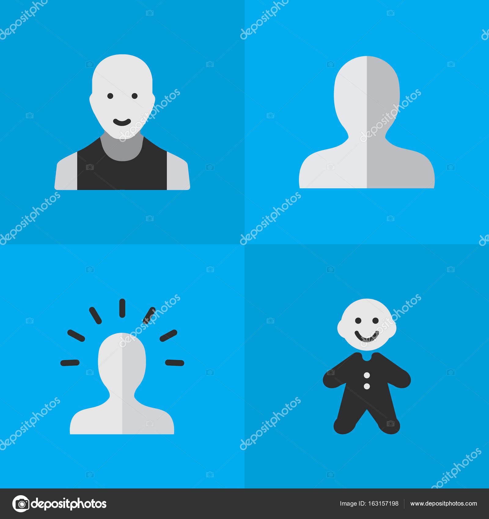 Vector Illustration Einfaches Profil Icons Set Elemente Kontur
