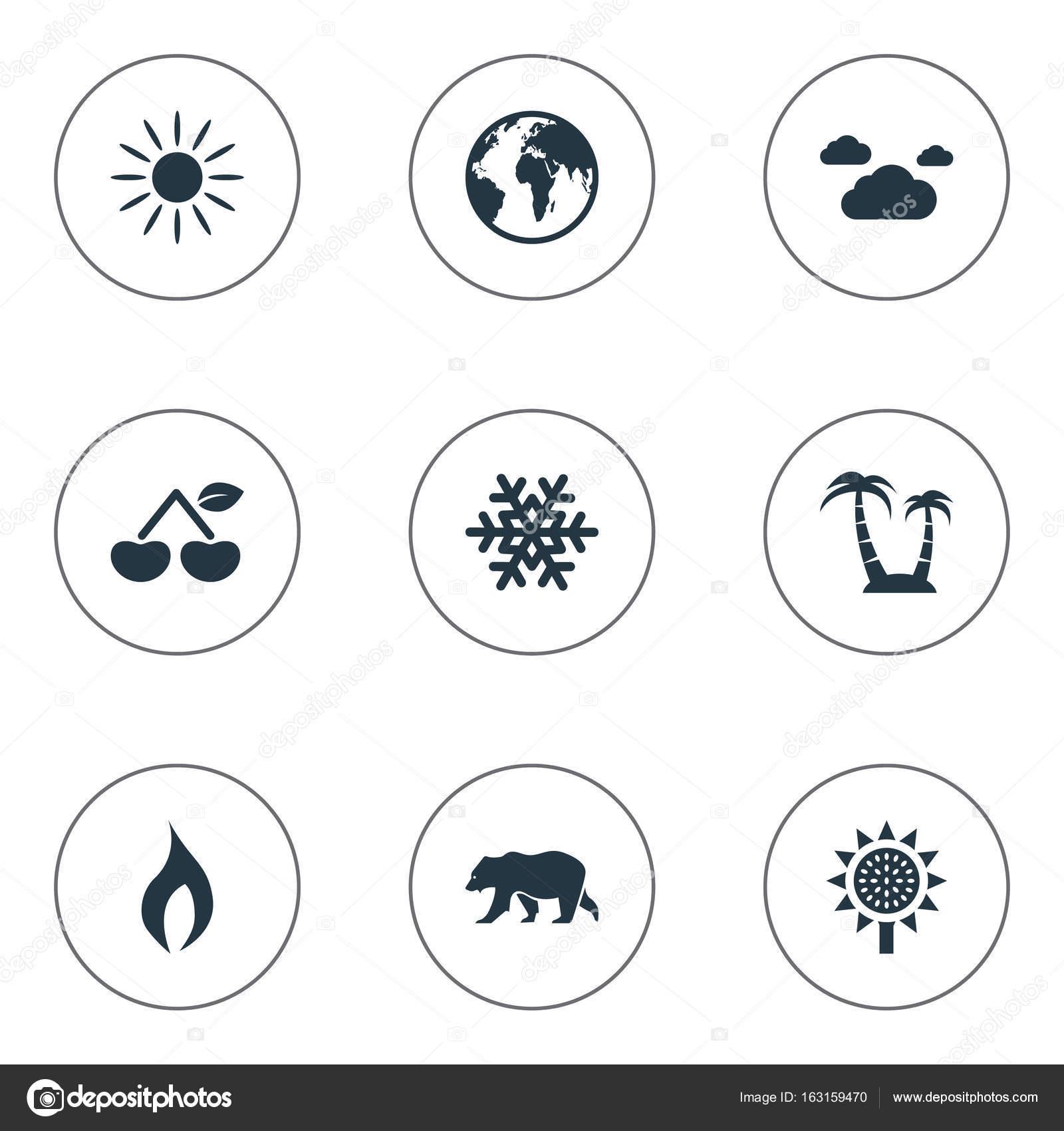 簡単エコ アイコンのベクター イラスト セット要素のベリーシロクマ