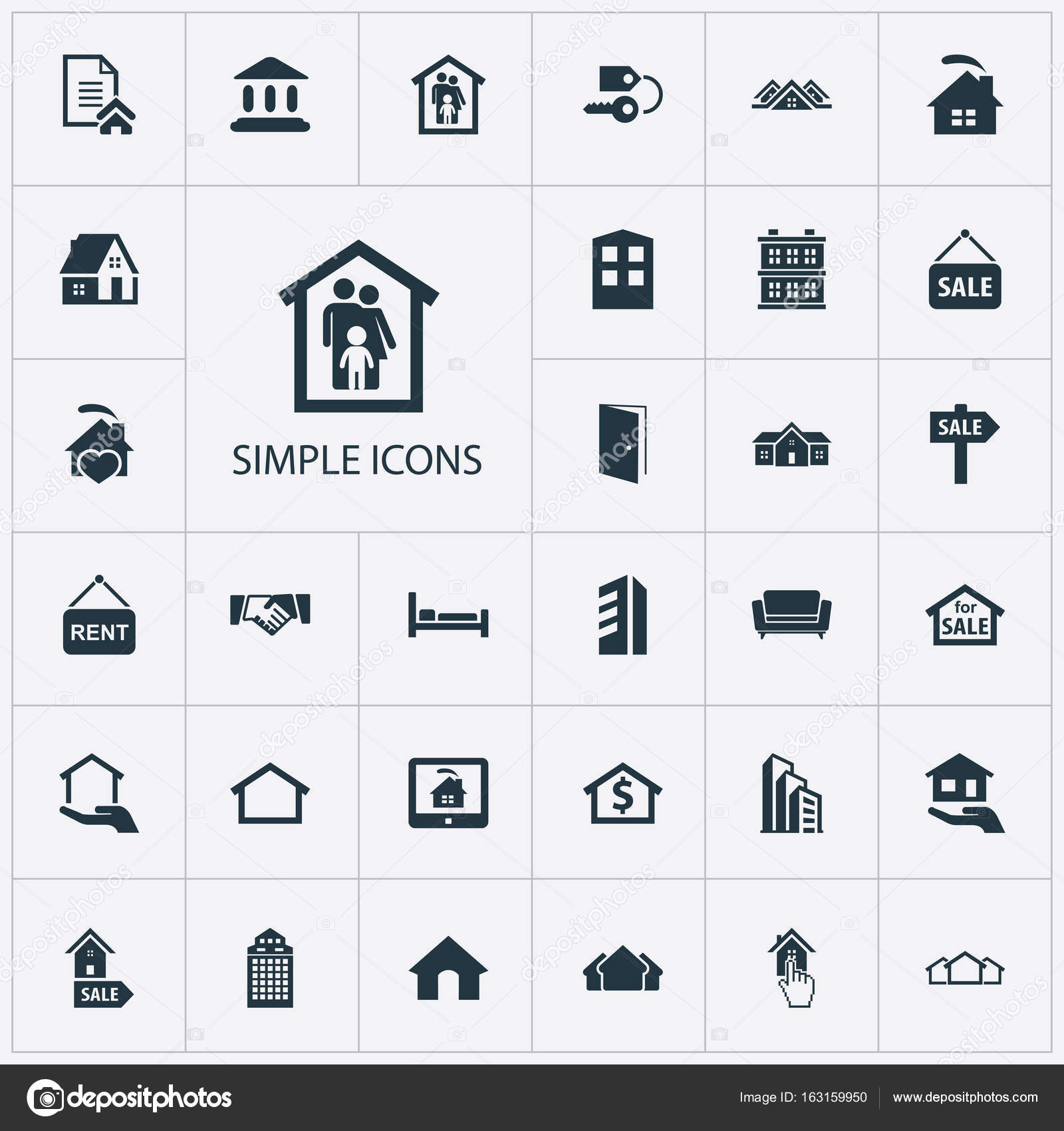 Elements Open Door Insurance Property And Other Synonyms Monitor Advertisement And Sign. Vector Illustration Set Of Simple Estate Icons.  sc 1 st  Depositphotos & Vector Illustration Set Of Simple Estate Icons. Elements Open Door ...