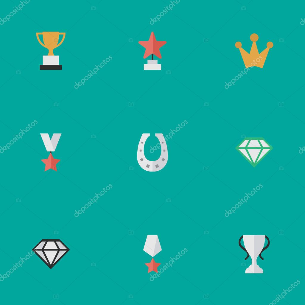 Vector Illustration Set Of Simple Achievement Icons. Elements Premium, Champion, Corona And Other Synonyms Corona, Chalice And Horseshoe.