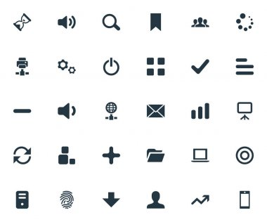 Vector Illustration Set Of Simple Apps Icons. Elements Sand Timer, Increase, Magnifier Synonyms Board, Canvas And Surge.