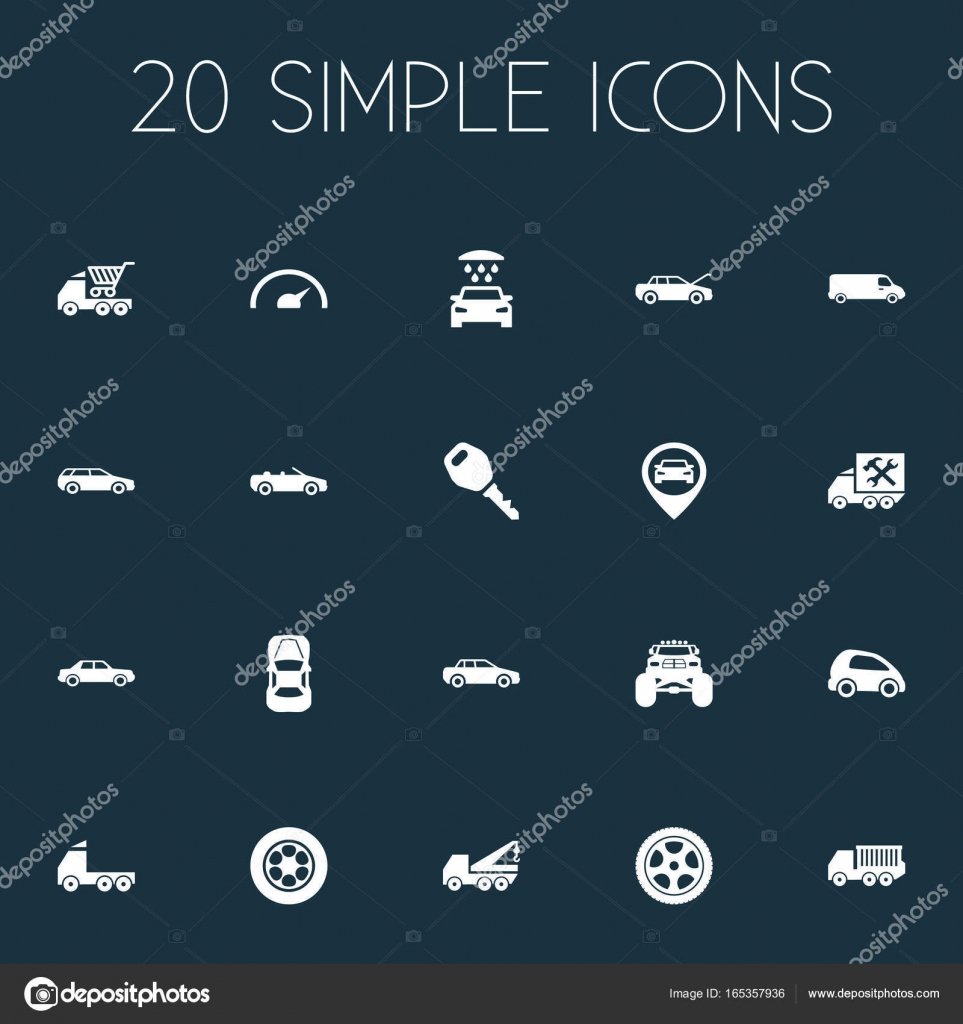 Vector Illustration Set Of Simple Auto Icons. Elements Faucet, Speed ...