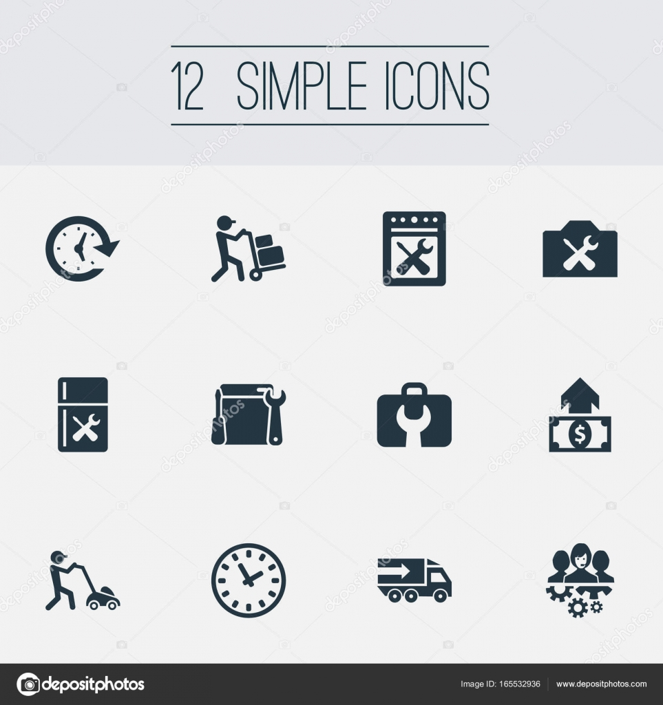 vector illustration set of simple service icons elements time