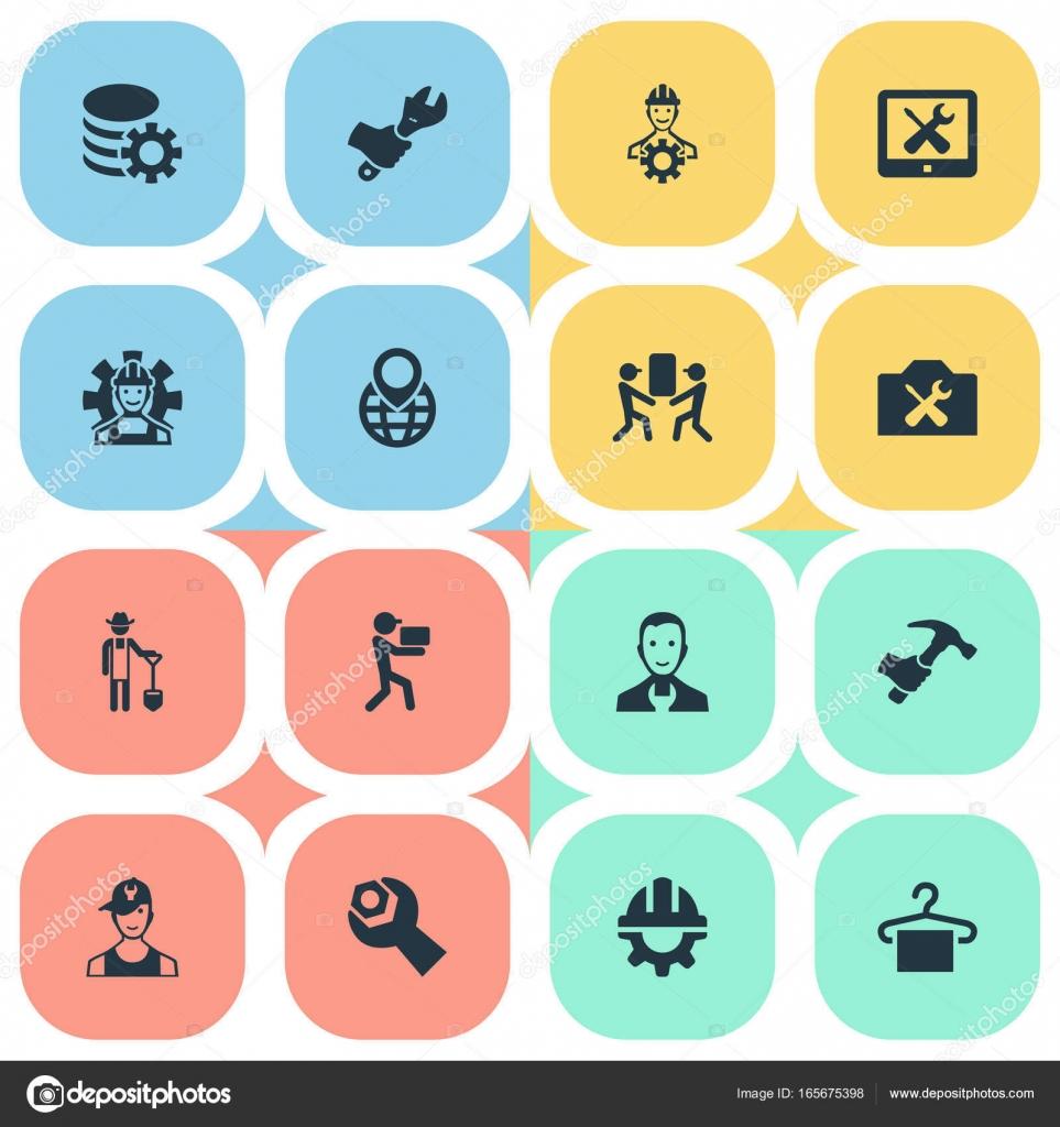 Vector ilustración conjunto de iconos de ayuda Simple. Ingeniero de ...