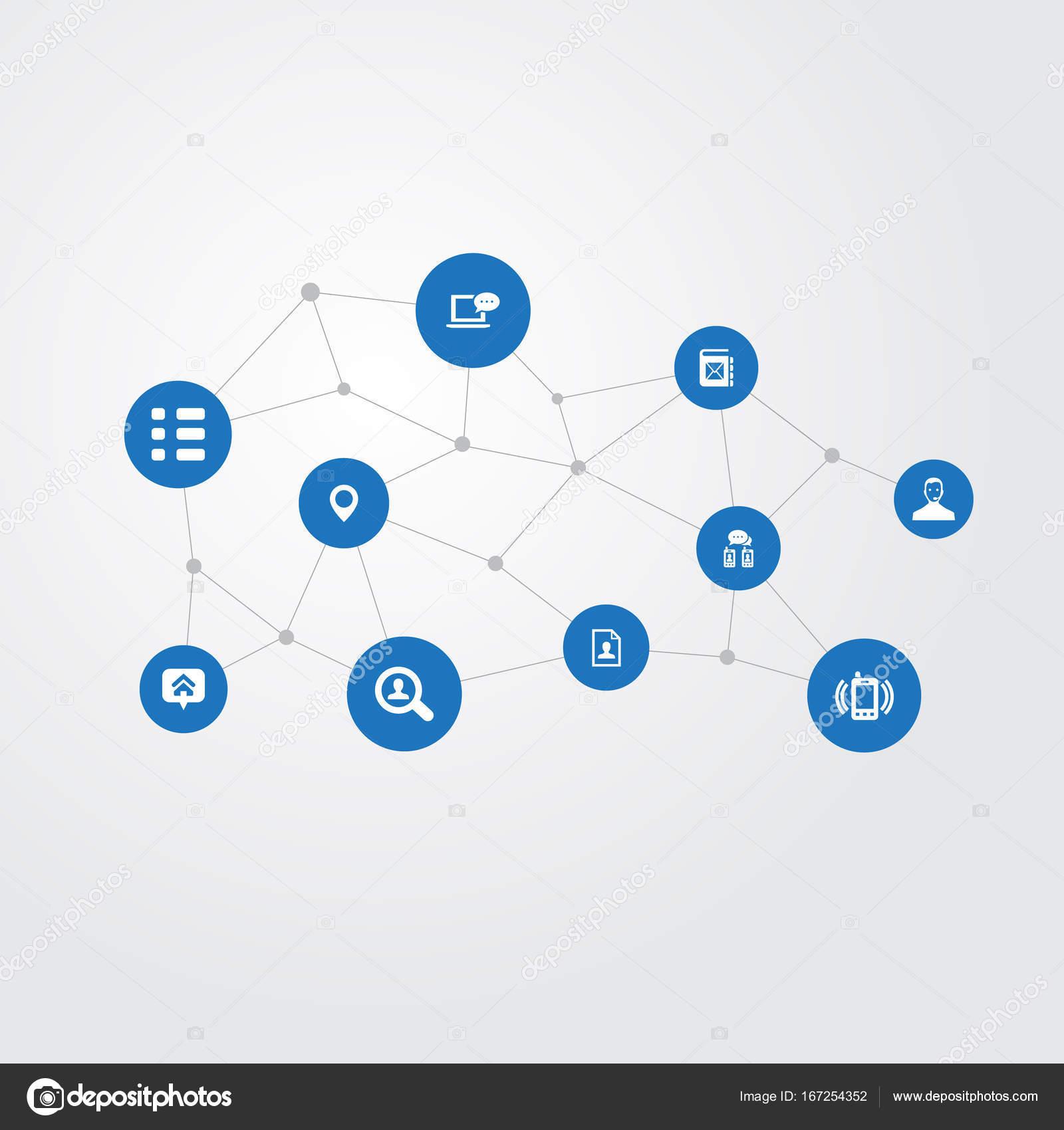 Vector ilustración conjunto de iconos de contacto Simple. Elementos ...