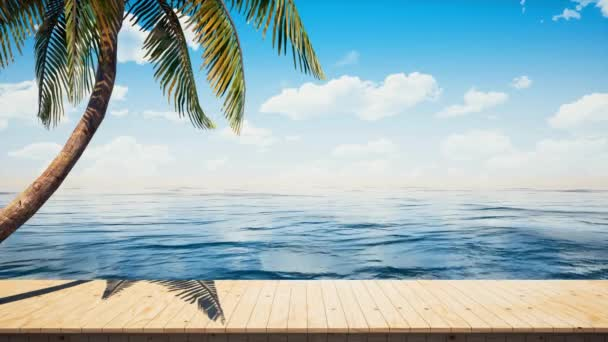 Colorful panoramic landscapeseaside wooden platform / deck table background.Beautiful tropical palm and ocean horizon. (4K UHD seamless looping, computer digitally generated animation.)