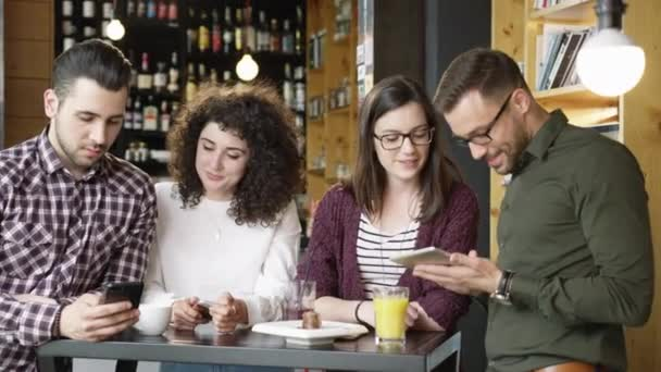 Pretty Friends Holding A Tablet Drinking Coffee Diverse Group Discussing A Project Planning Strategy Smiling Working Studying Hipsters Slow Motion Shot On Red Epic 8K