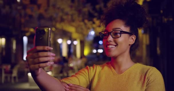 Happy Millennial Woman Streaming Vodeo Live On Social Media Smiling Wifi City Light Bouquet Close Up Shot Slow Motion Shot Red Epic 8k