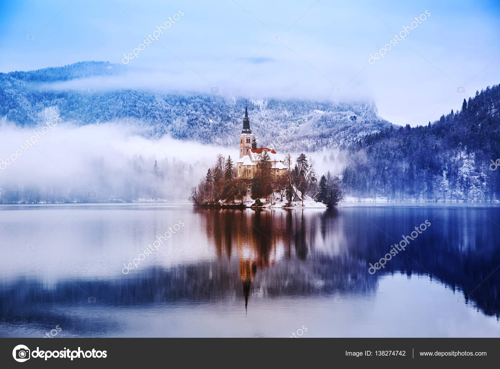 Lake Bled In Winter Bled Slovenia Europe Stock Photo