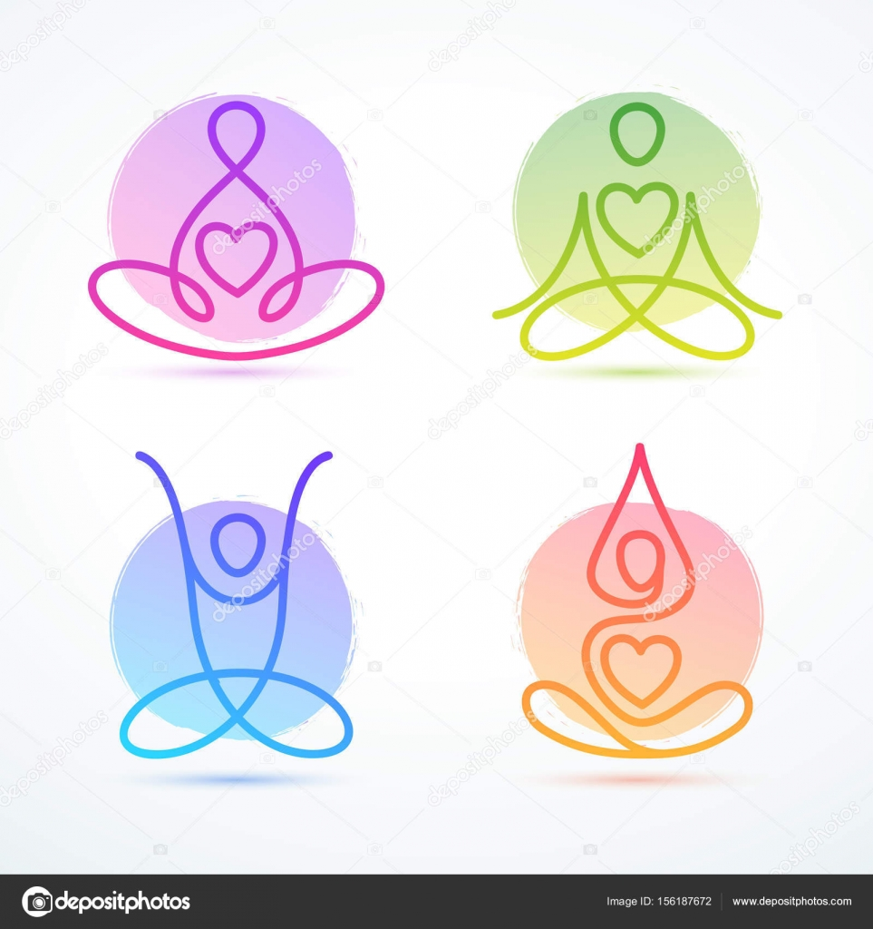 Set of line-figures in lotus poses for yoga and wellness — Stock ...