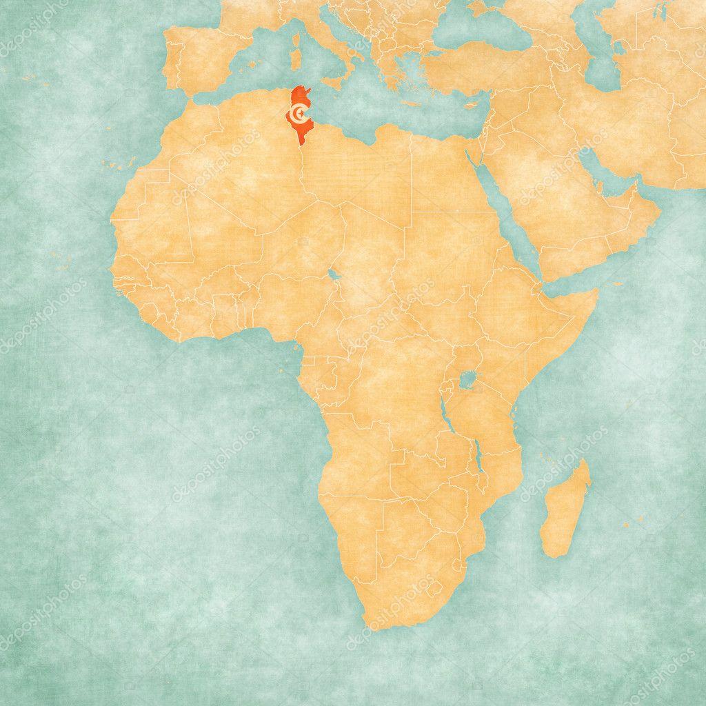 Map of Africa - Tunisia — Stock Photo © Tindo #125227096