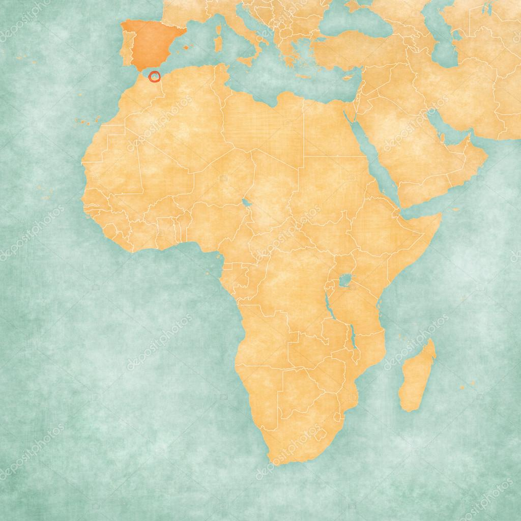 Melilla Spain Map.Map Of Africa Melilla Stock Photo C Tindo 125925674