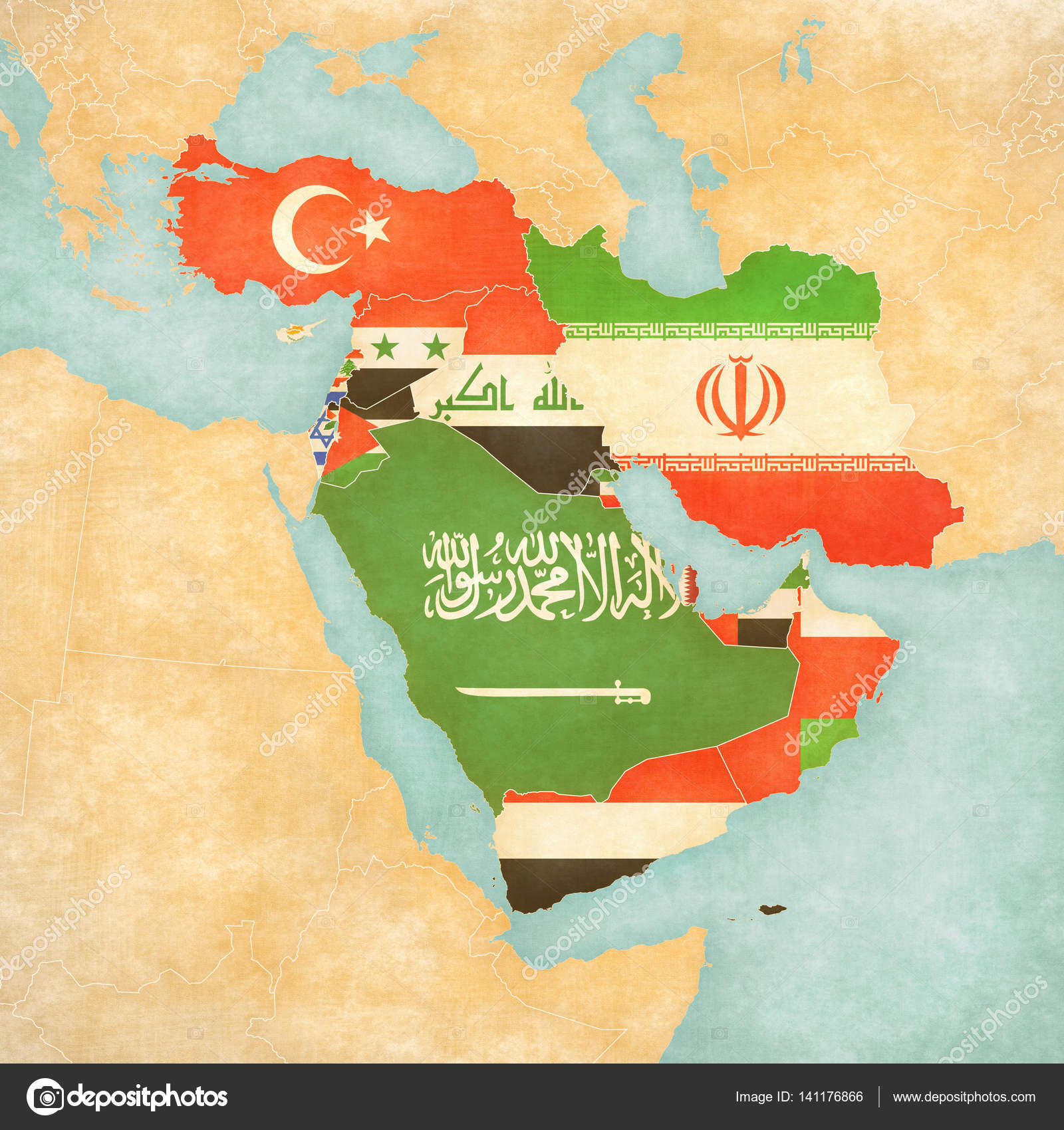 Map Of Middle East Asia All Countries Stock Photo C Tindo