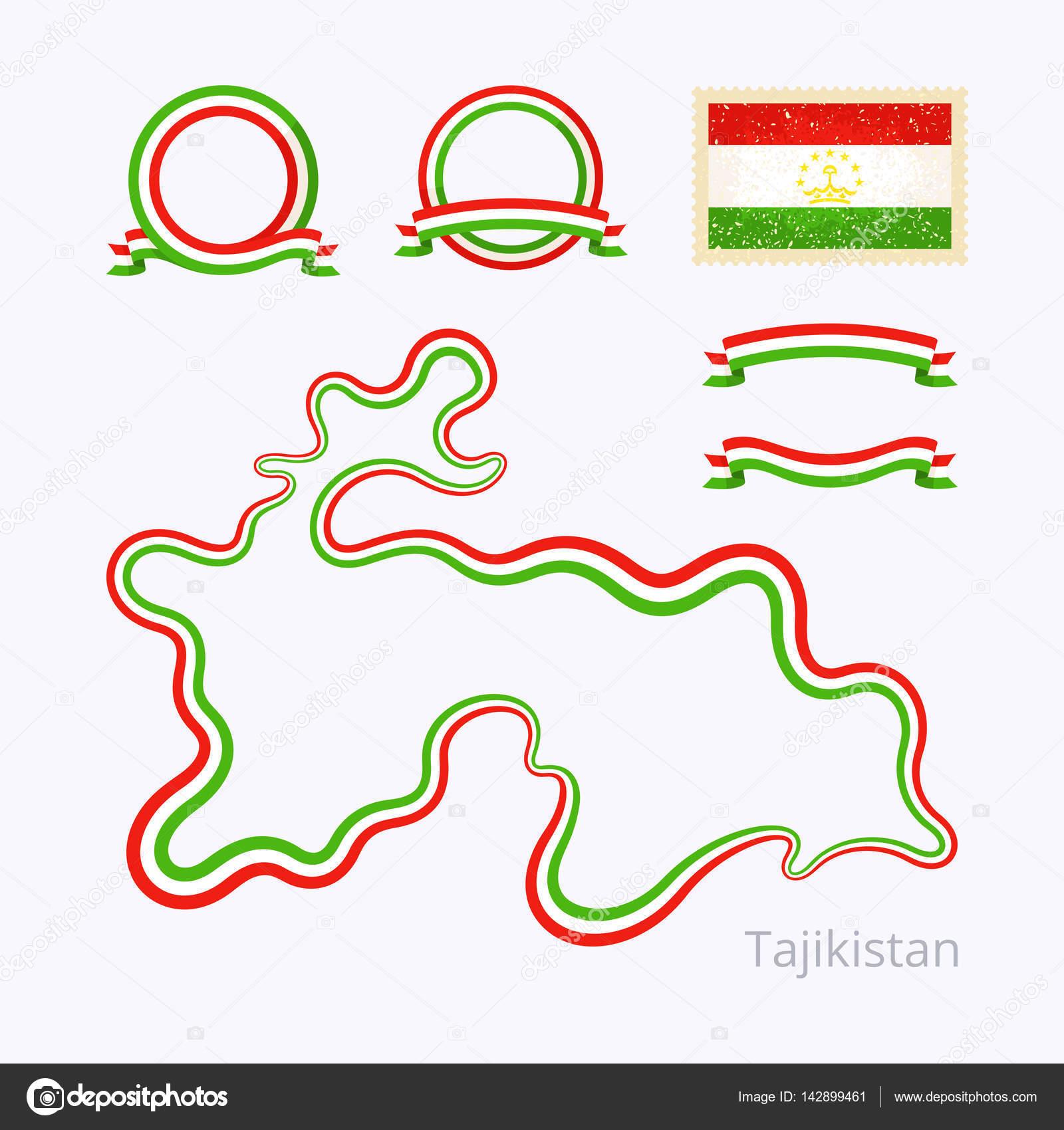Tajikistan Outline Map And Ribbons Stock Vector Tindo - Tajikistan map vector